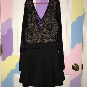 Dress with mesh floral top